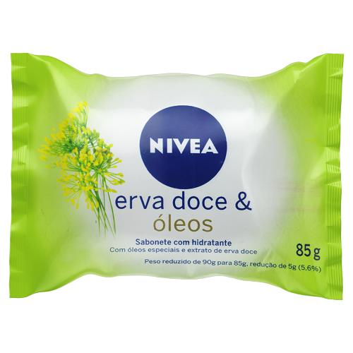 Sabonete Em Barra Hidratante Erva Doce Óleos Nivea Pacote 85g