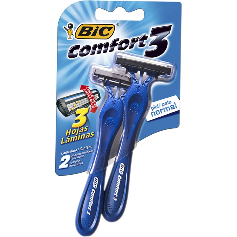 Aparelho Barbear Bic C/2 Comfort3 Pele Normal Unit