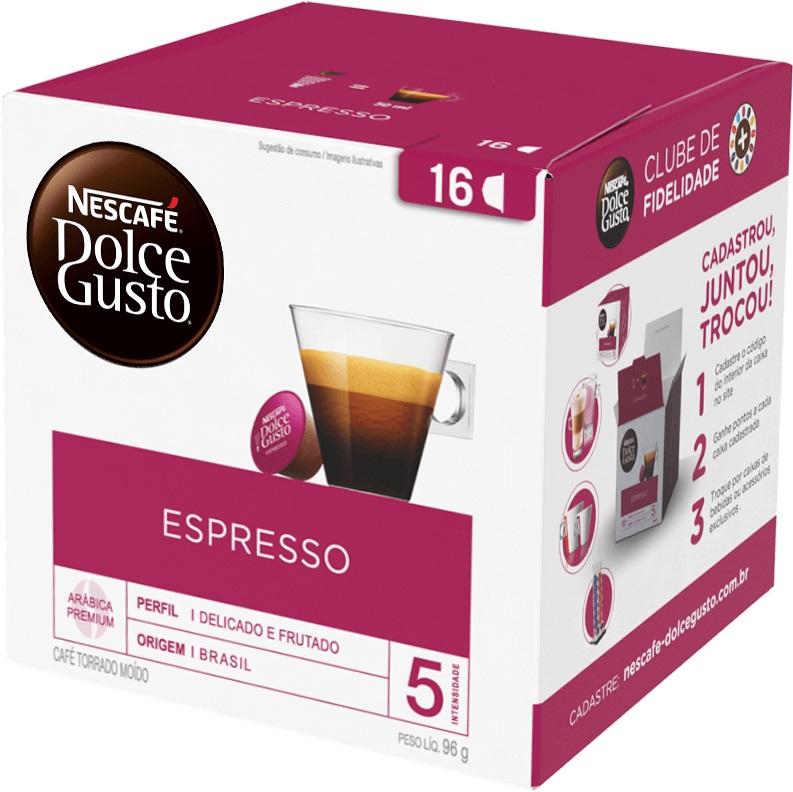 Café em Cápsula Torrado e Moído Espresso Arábica Premium Nescafé Dolce Gusto Caixa 96g 16 Unidades