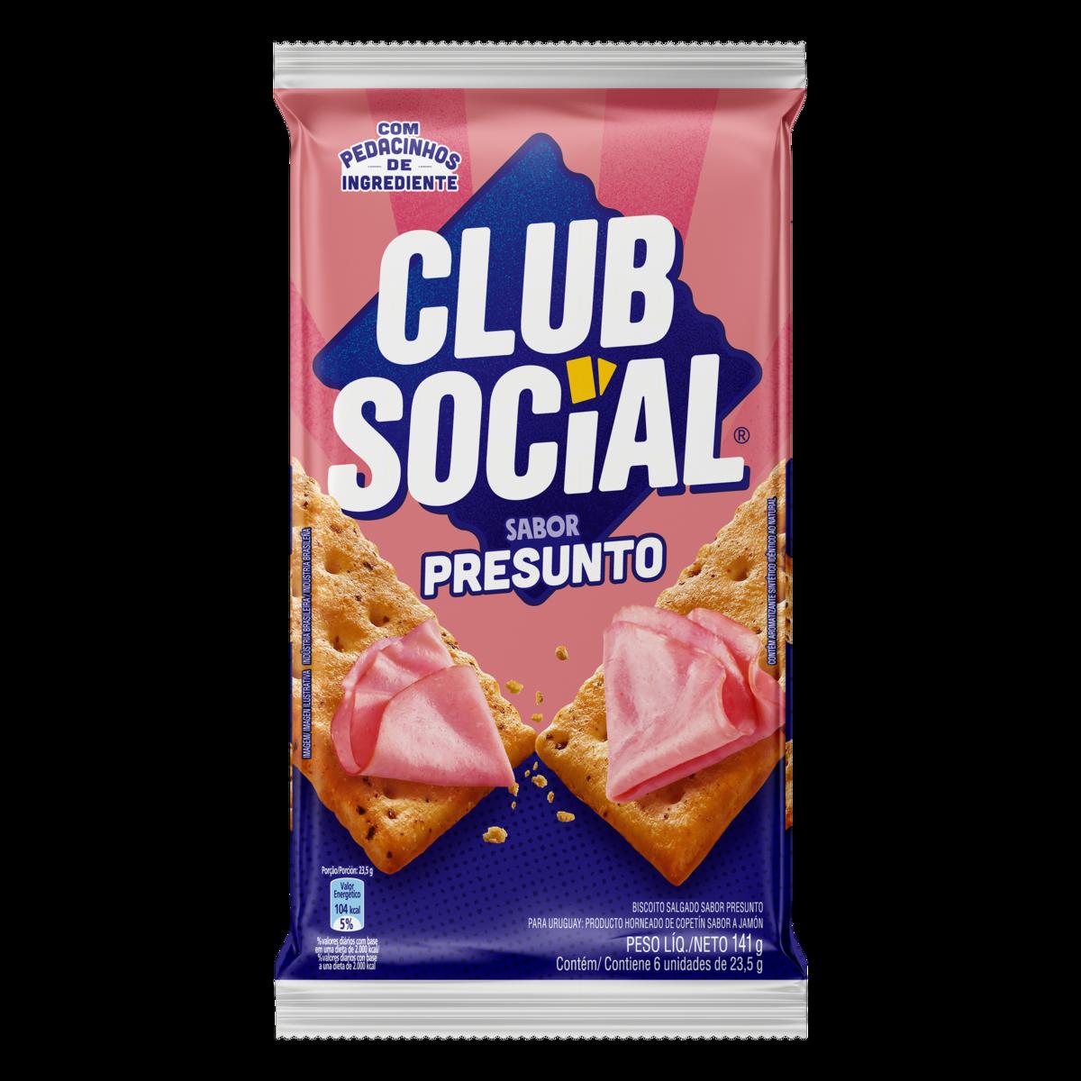 Biscoito Salgado Sabor Presunto 141g Club Social