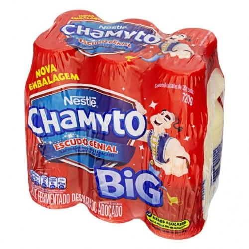 Pack Leite Fermentado Desnatado Nestlé Chamyto Big Frasco 720g 6 Unidades