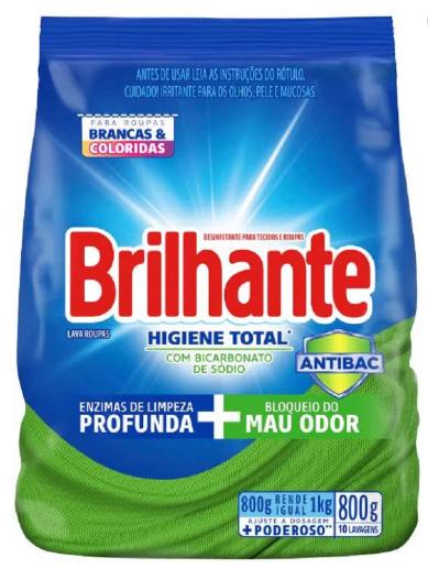 Lava Roupas Desinfetante em Pó Brilhante Higiene Total Combate Germes e Bactérias 800G