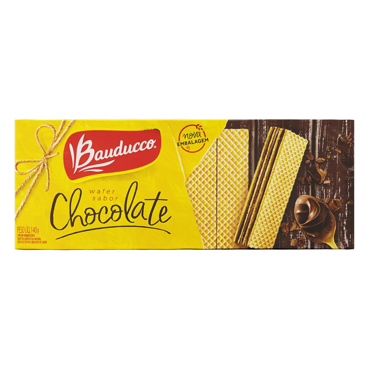 Biscoito Wafer Com Recheio De Chocolate Bauducco Pacote 140g