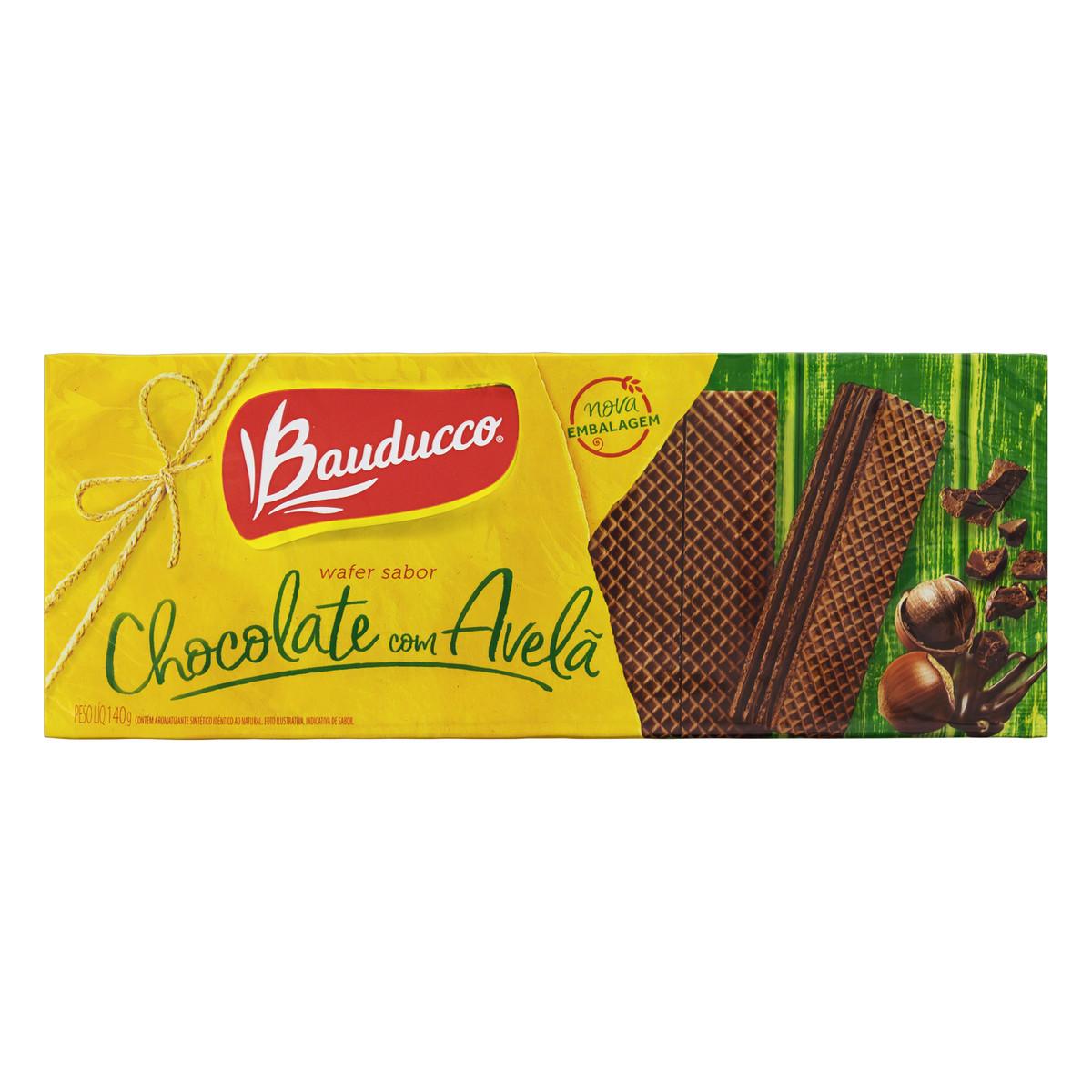 Biscoito Wafer Com Recheio De Creme De Chocolate Com Avelã Bauducco Pacote 140g
