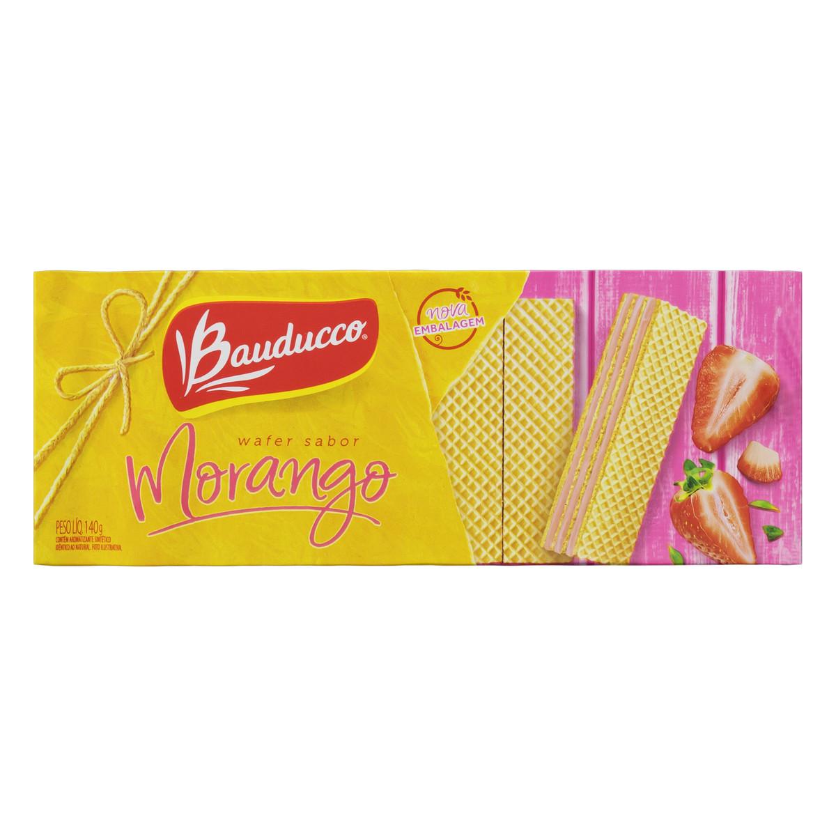Biscoito Wafer Recheado De Morango Bauducco Pacote 140g