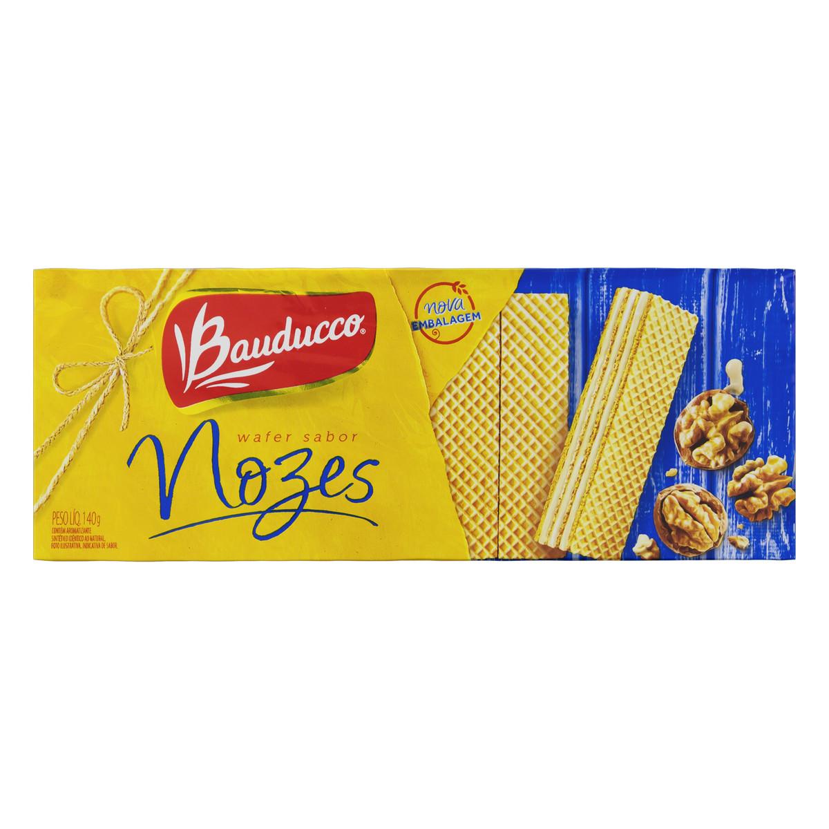 Biscoito Wafer Recheado De Nozes Bauducco Pacote 140g
