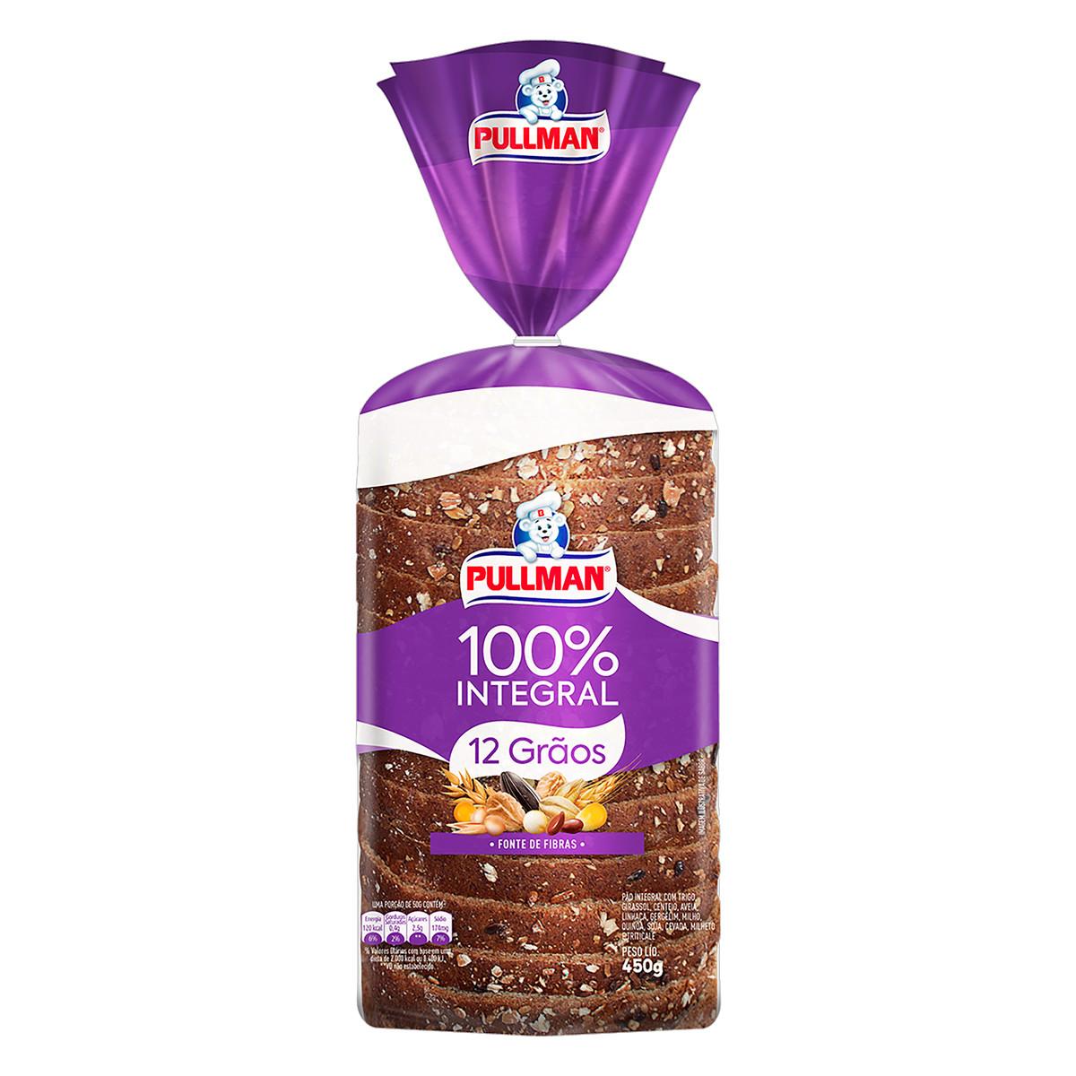 Pão 100% Integral 12 Grãos com Trigo, Girassol, Centeio, Aveia, Linhaça, Gergelim, Milho, Quinoa, Soja, Cevada, Milheto e Triticale Pullman Pacote 450g