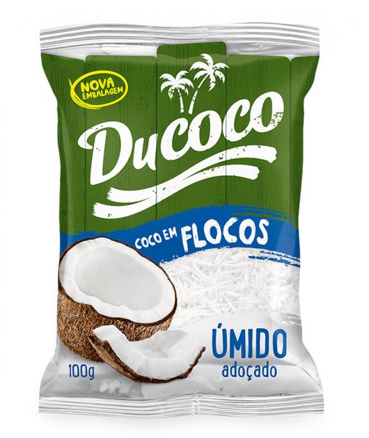 Coco Ralado Úmido Adoçado Em Flocos Ducoco Pacote 100g