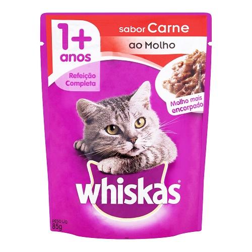 Racao Whiskas 85g Adulto Carne Sache