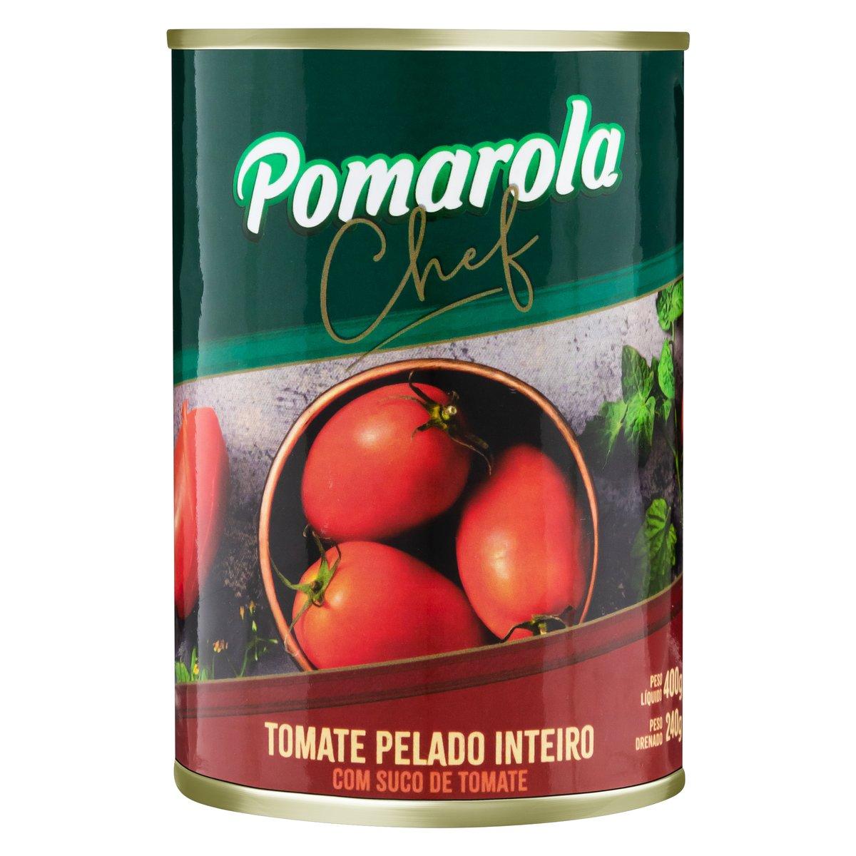 Tomate Pelado Inteiro com Suco de Tomate Pomarola Chef Peso Líquido 400g Peso Drenado 240g