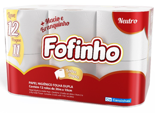 Papel Higiênico Folha Dupla Neutro Fofinho 30m Pacote Leve 12 Pague 11 Unidades