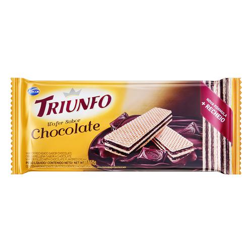 Biscoito Wafer Com Recheio De Chocolate Arcor Triunfo Pacote 115g