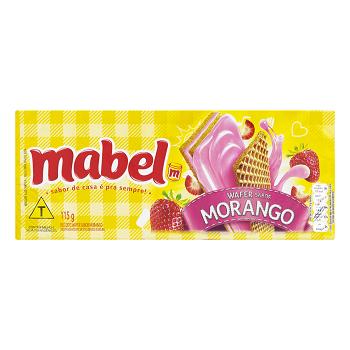 Biscoito Wafer Recheio Morango Mabel Pacote 115g
