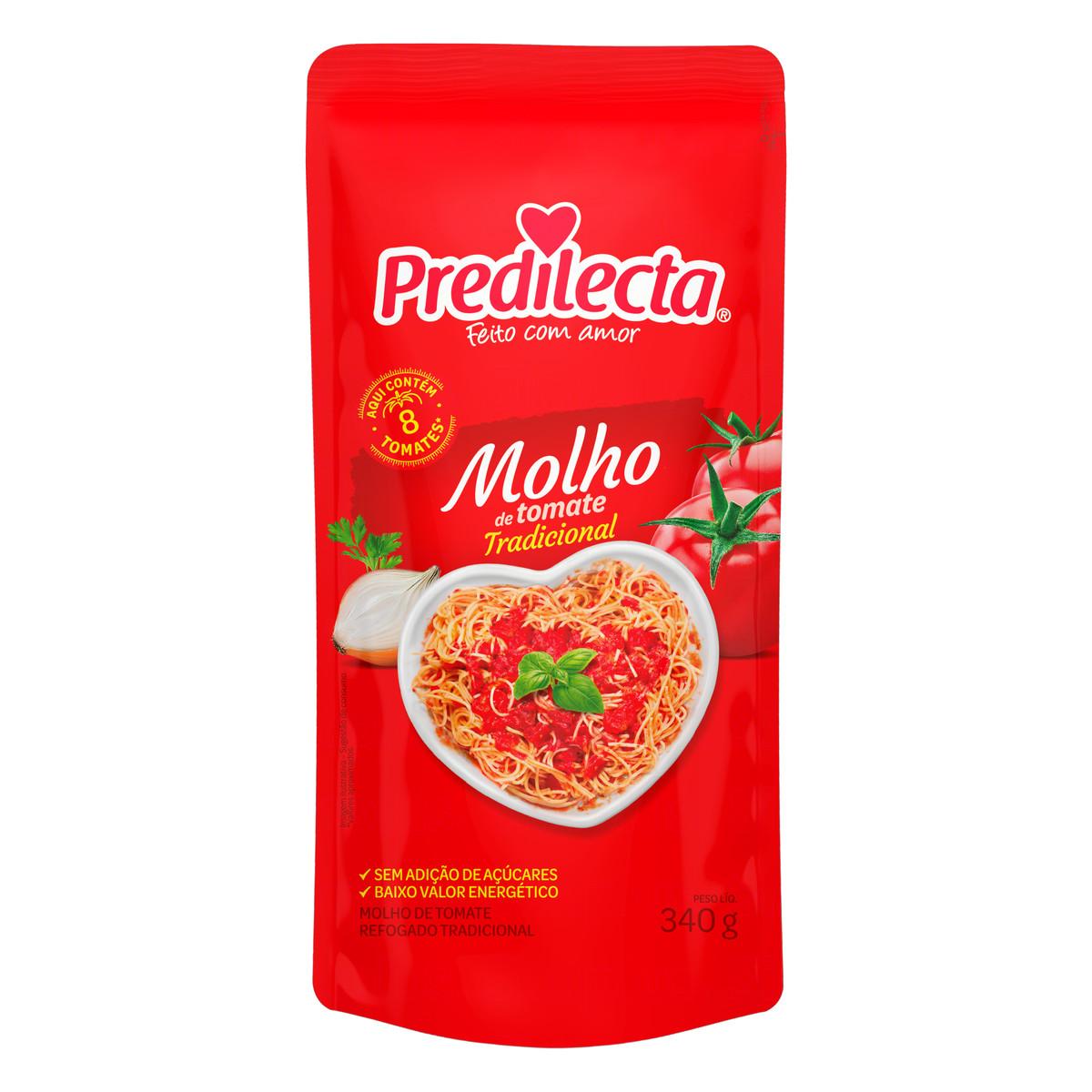 Molho de Tomate Refogado Tradicional sem Adição de Açúcar Predilecta Sachê 340g