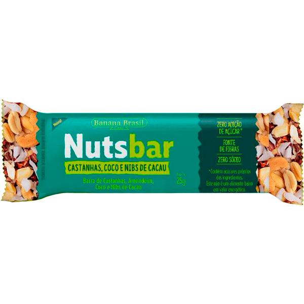 Barra de Cereal Nuts Bar Castanhas, Coco e Nibs de Cacau Embalagem 25G