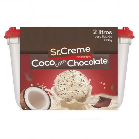 Sorvete Sr. Creme Chocolate e Coco Pote 2 Litros